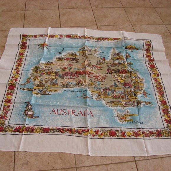 Vintage Australia Linen Tablecloth
